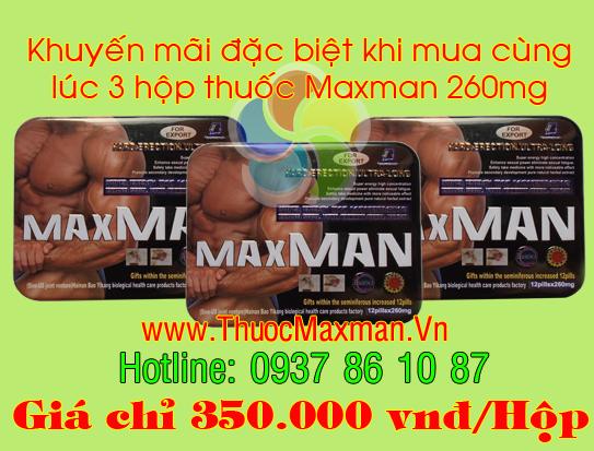Thuốc maxman 260mg giá khuyến mãi khi mua 3 hộp