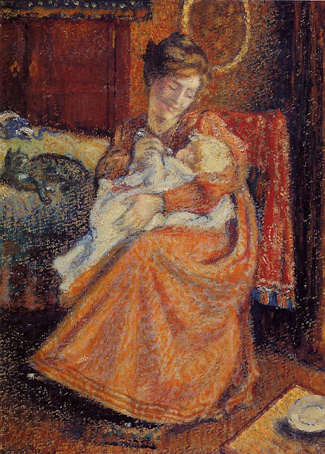 Georges Lemmen - Madame Gaorges Mellen and Lise (The New Baby)