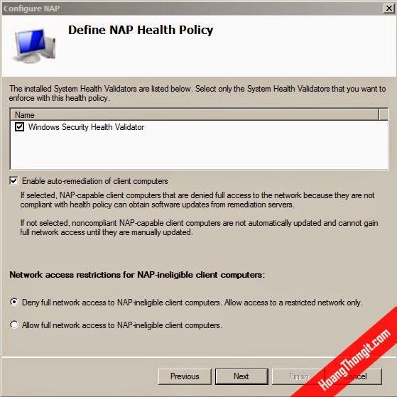 Hướng dẫn cài đặt và cấu hình NAP cho VPN Client Access