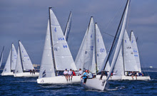 J/70 one-design sailboats- sailing off Tampa, FL