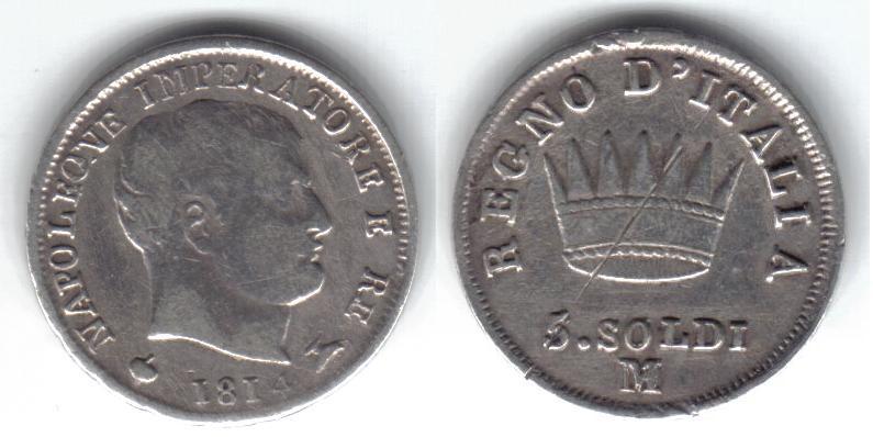 Mi colección de monedas italianas. 5%20soldi%201814%20M
