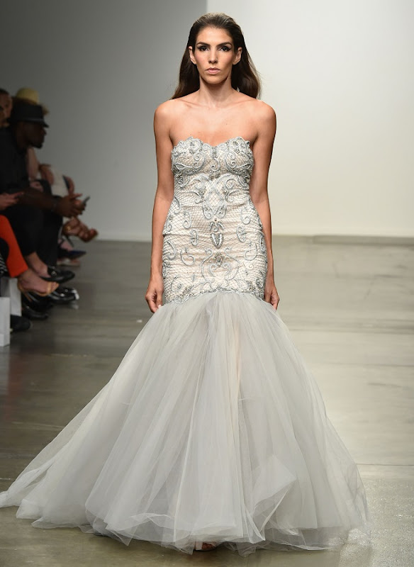 Model on the runway during the Belluccio Spring 2015 Collection at the Fashion Palette Evening and Bridal Wear Spring Summer Show, held at Chelsea Pier 59 in New York City, Sunday, September 7, 2014. Photo by Jennifer Graylock-Graylock.com 917-519-7666