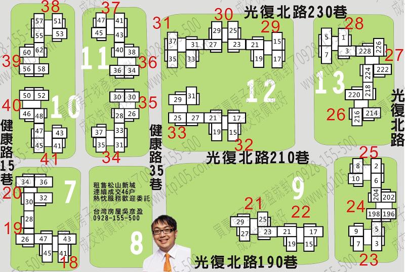 松山新城乙標門牌位置分布圖