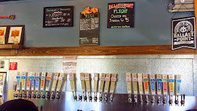 Ballast Point Brewing, Old Grove location, example of their large menu of beers to choose from