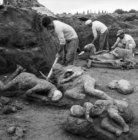 human bodies in the molten lava left only empty spaces which were later filled with plaster by modern archeologists