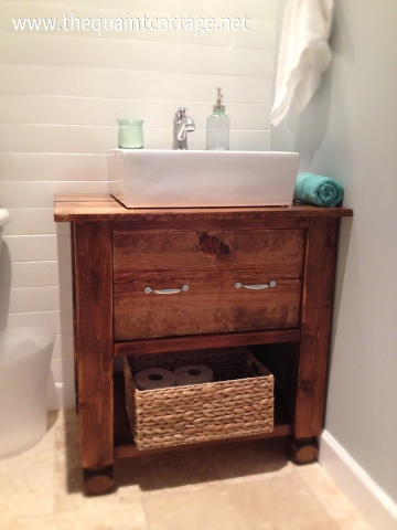 Remodelaholic diy bathroom vanity how to for Diy wood vanity