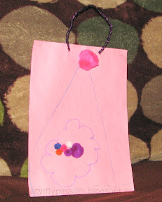 Kid made construction paper goody bag