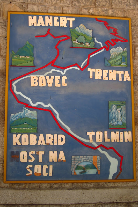 A map on the wall of the Most na Soči train station