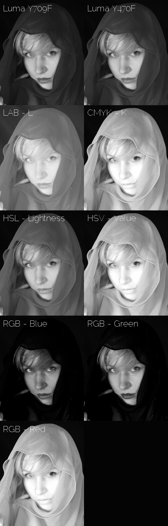 Grid of B&W converted images in GIMP using different color decompositions (grayscale).