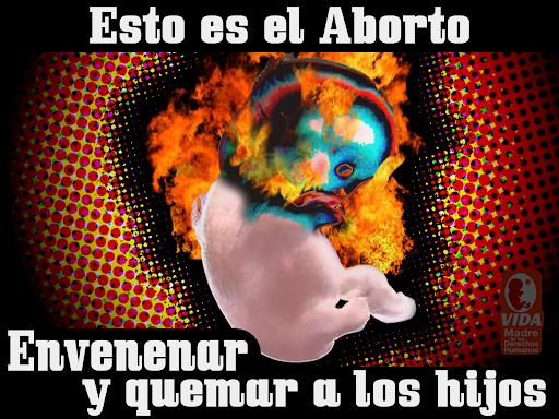 Esto es el aborto: envenenar y quemar a los hijos