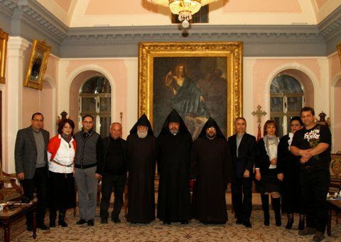 "Founders of ""Nairi Union"" of the Armenians in Petah Tiqwa, Israel and the Armenian Patriarch of Jerusalem Nourhan Archbishop Manoogian (in the middle)"