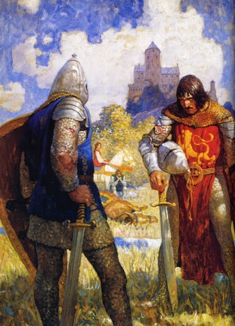 N. C. Wyeth - I am Sir Launcelot du Lake, King Ban's son of Benwick, and knight of the Round Table, 1922