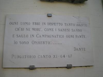 Marble plate commemorating Dante's Divine Comedy in Campagnatico