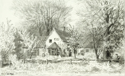 """West End of evening school or Studio Cottage. From about 1885 technical work was taught there instead of reading and writing. Parish meetings took place there. the rooms were also used after that for Sunday schol 42 boys and 40 girls until 1909."" From A Record of Shelford Parva by Fanny Wale P46"