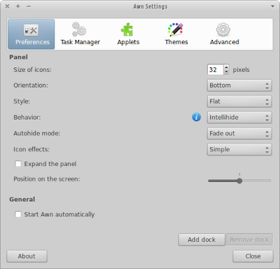 Customizing Awn Settings