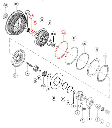 Reassembling clutch pack: missing parts?