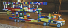 J/105 Lego sailboat model on trailer with truck