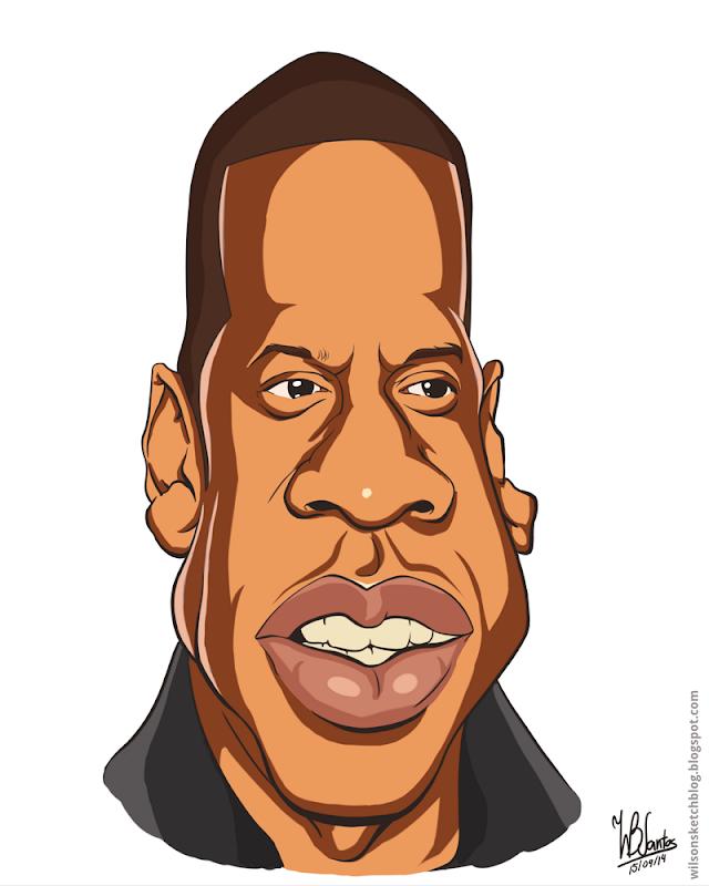 Cartoon caricature of Jay-Z, using Krita.