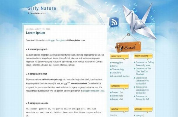 Free Blogger Girl Blue Nature Web2.0 Template