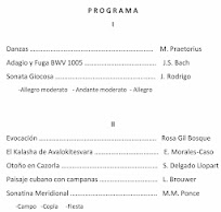 Programa de Concierto de María Esther Guzmán