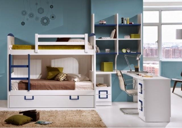 este modelo de cama es ideal para espacios compuesta por una cama alta compacto con dos camas y cajonesmesa de