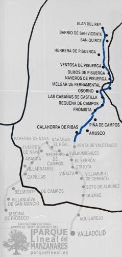 Mapa Ramal del Norte. Canal de Castilla.