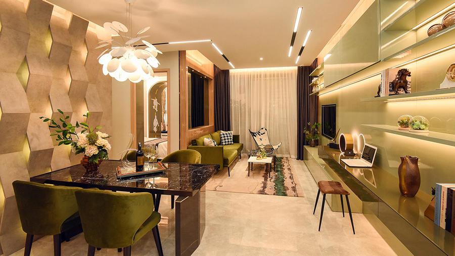 Nội thất trong căn hộ sử dụng nhiều inox và gương kính