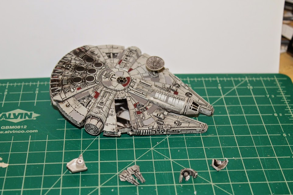 Millennium Falcon model cut open, with cockpit fixed back on. Top View.