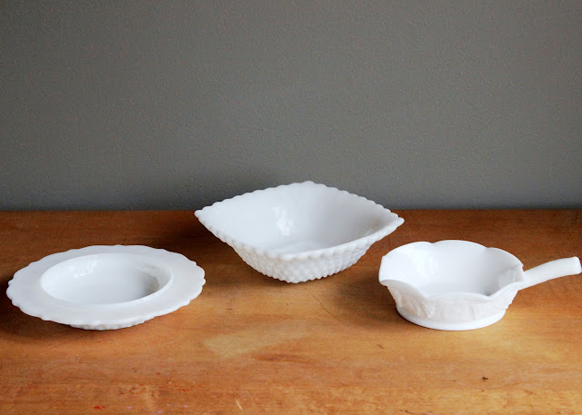 Shallow milk glass bowls available for rent from www.momentarilyyours.com, $0.50 each.