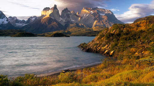 Cuernos del Paine at Sunset From the Shore of Lago Pehoe, Patagonia, Chile.jpg