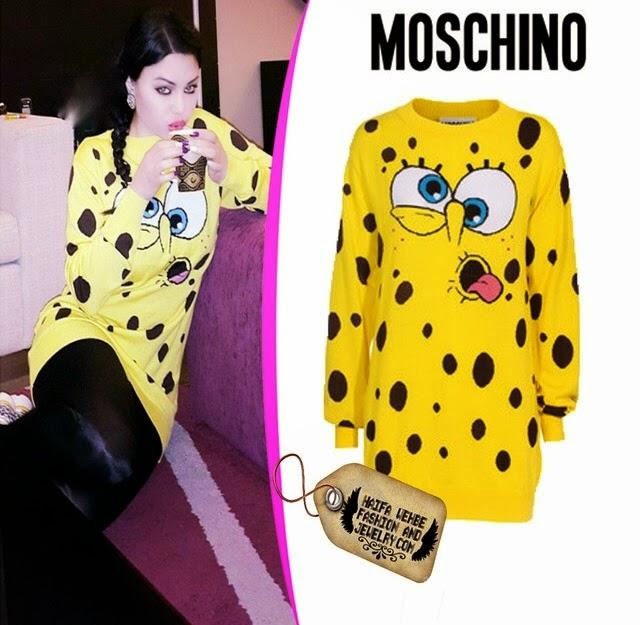 5a653629e7725 Haifa Wehbe Wearing SpongBob print dress by Moschino