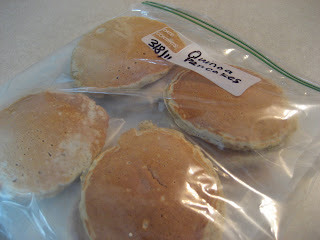 Pancakes in a freezer bag.