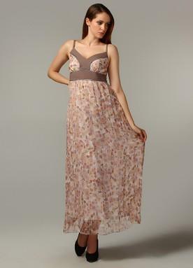 askılı uzun boy elbise modeli