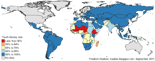 World map with youth literacy rates in 2009