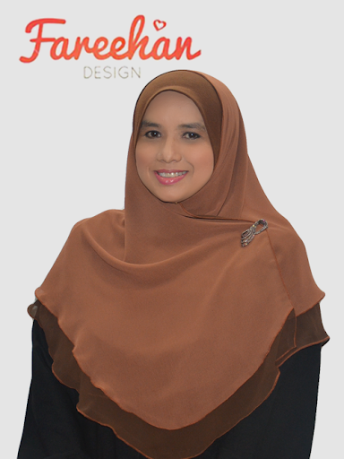 tudung shawl halfmoon double layer coklat plain fareehan