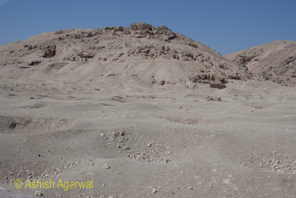 Workers working on the hillside, on the limestone hills next to the Valley of the Kings, outside Luxor