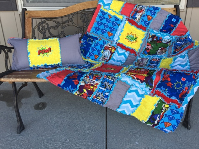 superhero rag quilt and throw pillow