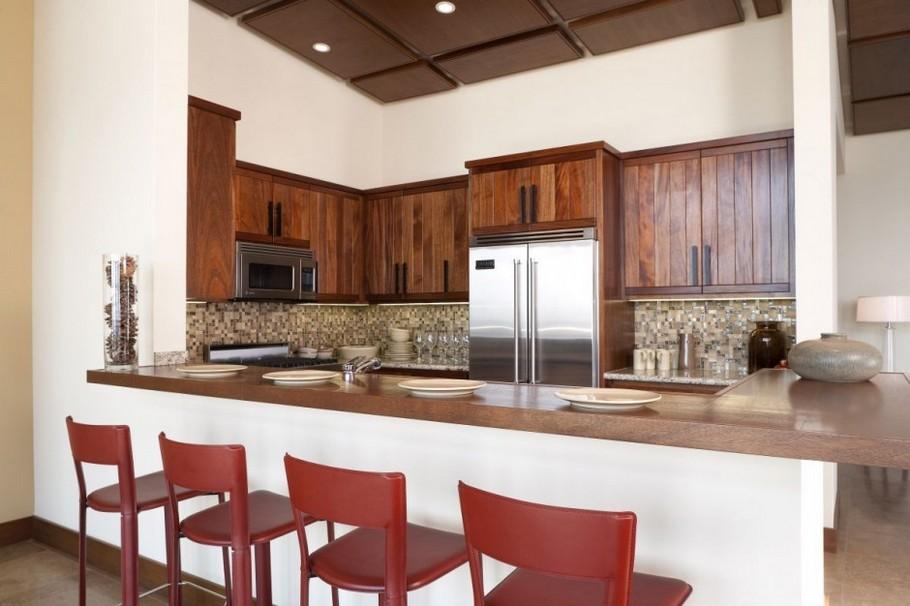 Kitchen Interior Design Ideas Wood Kitchen Cabinet And Breakfast Bar