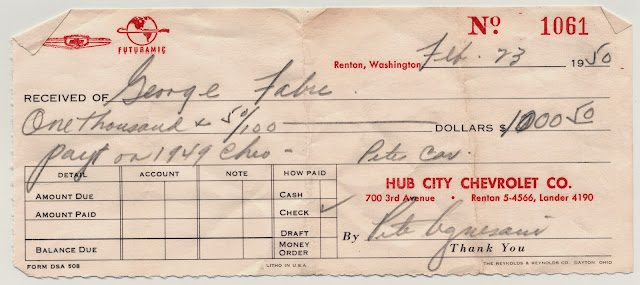 Receipt of purchase for Grandpa's 1949 Chevrolet Business Coupe from Hub City Chevrolet, Renton, Washington dated February 23, 1950.