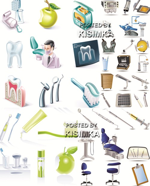 Stock: Dental elements and icon