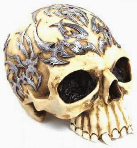 Tribal Tattoo Skull Statue