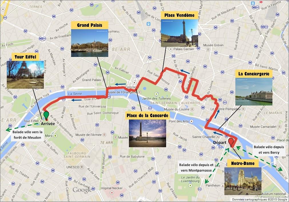 Tracé Circuit à vélo de Notre Dame à la Tour Eiffel par veloiledefrance.com