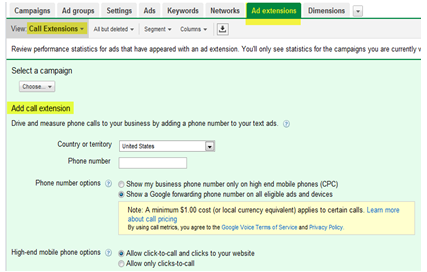 AdWords Call Metrics Extension