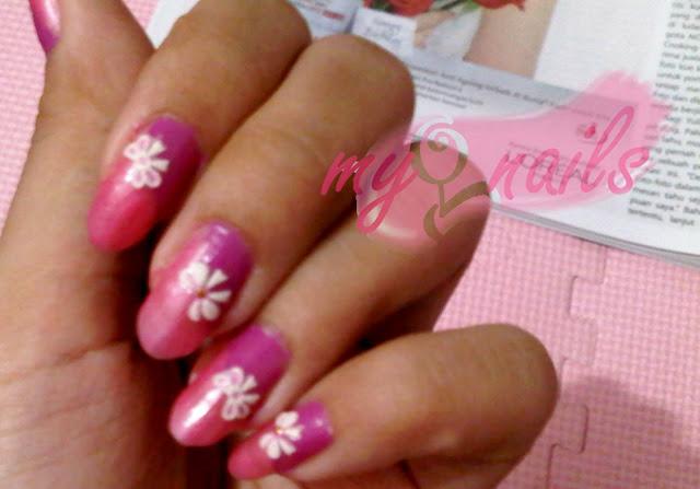 Double Twist pink Ribbon Nails