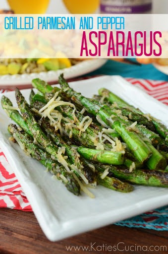 Grilled Parmesan and Pepper Asparagus via KatiesCucina.com #recipe #sidedish #grilling