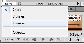Selecione a opção Forever para rodar a animação indefinidamente