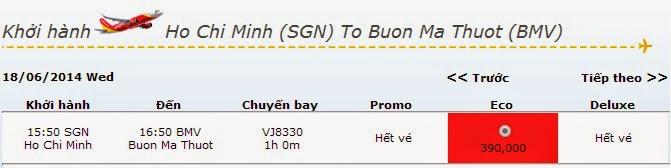 vé máy bay Hồ Chí Minh đi Buôn Ma Thuột