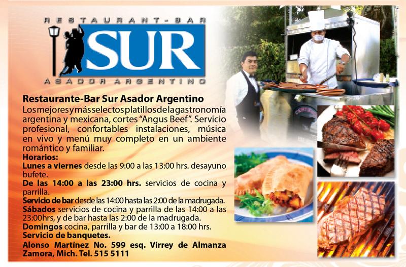 Expo regional zamora restaurante bar el sur asador for Bar restaurante el jardin zamora