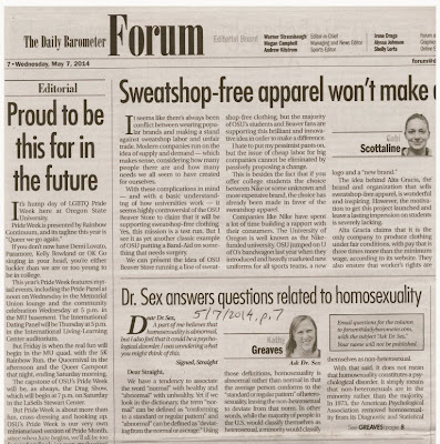 Pride Editorial and Dr. Sex on APA decision OSU Barometer, May 7, 2014, p. 7