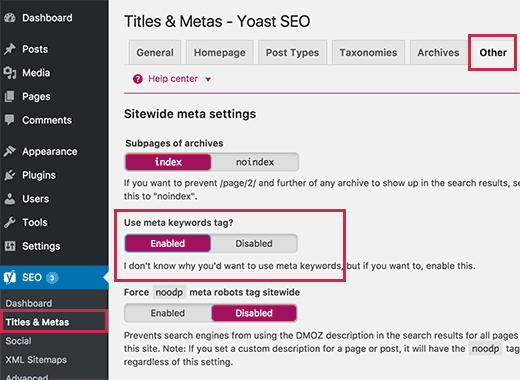Image result for Dashboard > SEO > Titles & Metas > Taxonomies,